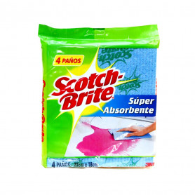 PAÑOS SCOTCH BRITE SUPER ABSORVENTE X 4 UN.