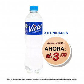 AGUA VIDA BOTELLA X 625 ML. SIN GAS X 6 UNID